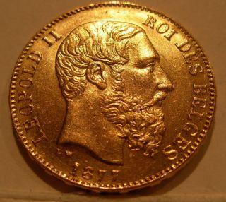 Belgium 1877 Gold 20 Francs Unc photo