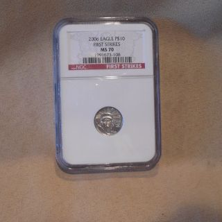 2006 $10 American Platinum Eagle 1/10 Oz 9995 Ngc Ms 70 First Strikes Red Label photo
