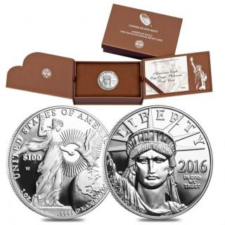 American Eagle 2016 W 1oz Platinum Proof $100 Coin In photo