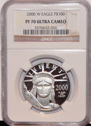 2000 W 1 Oz Ounce Platinum Eagle Pf 70 Ngc Ultra Cameo $100 Liberty Coin photo