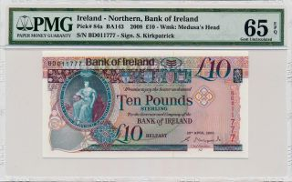 Banknote Bank Of Ireland Ireland Northan 10 Pounds 2008 Pmg 65 Epq photo
