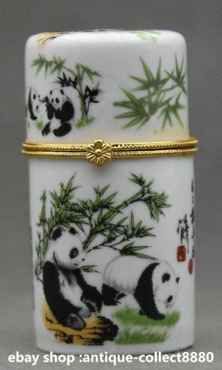 79mm Chinese Colour Porcelain National Treasure Panda Bamboo Vogue Toothpick Box photo