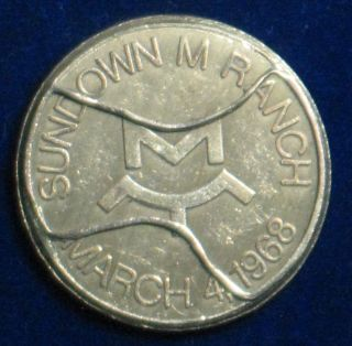 Sundown M Ranch [march 4,  1968] Vintage Recovery Coin / Serenity Prayer 1.  25