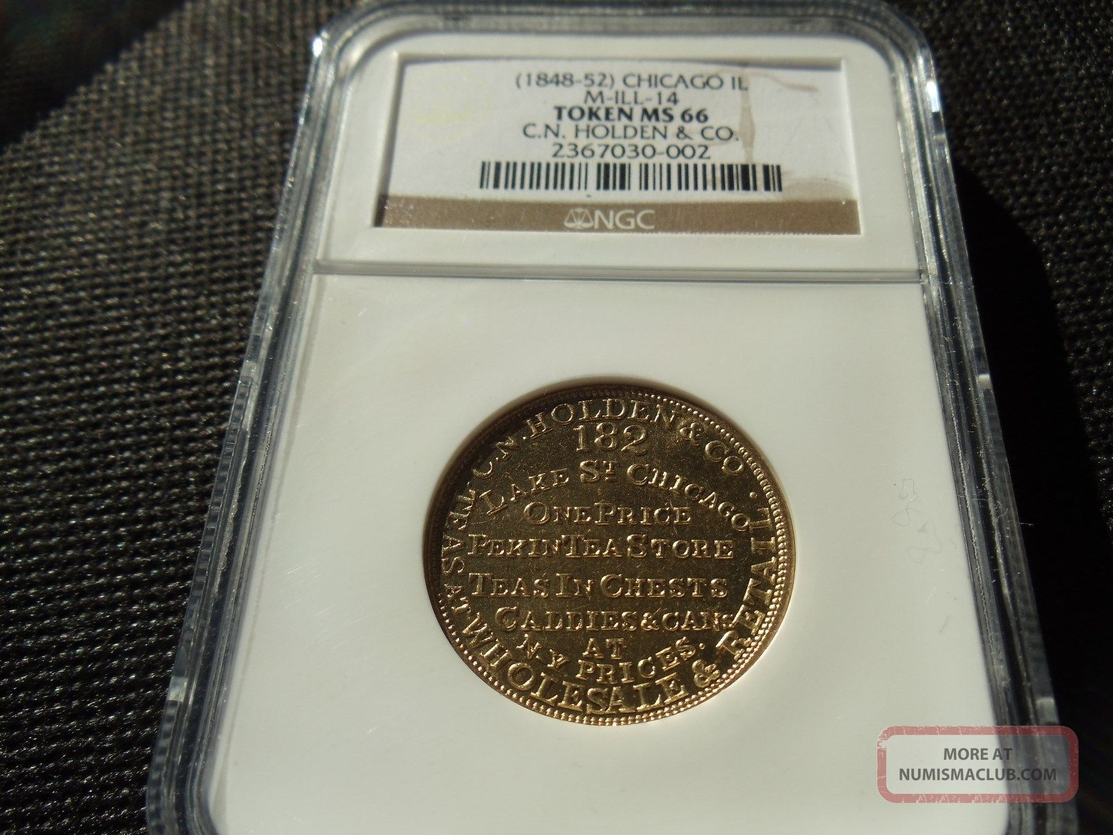 (1848 - 1852) Chicago,  Il M - Ill - 14 C.  N.  Holden & Co.  Token Ngc Ms - 66 Near Pl Gem Exonumia photo
