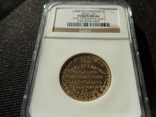 (1848 - 1852) Chicago,  Il M - Ill - 14 C.  N.  Holden & Co.  Token Ngc Ms - 66 Near Pl Gem photo
