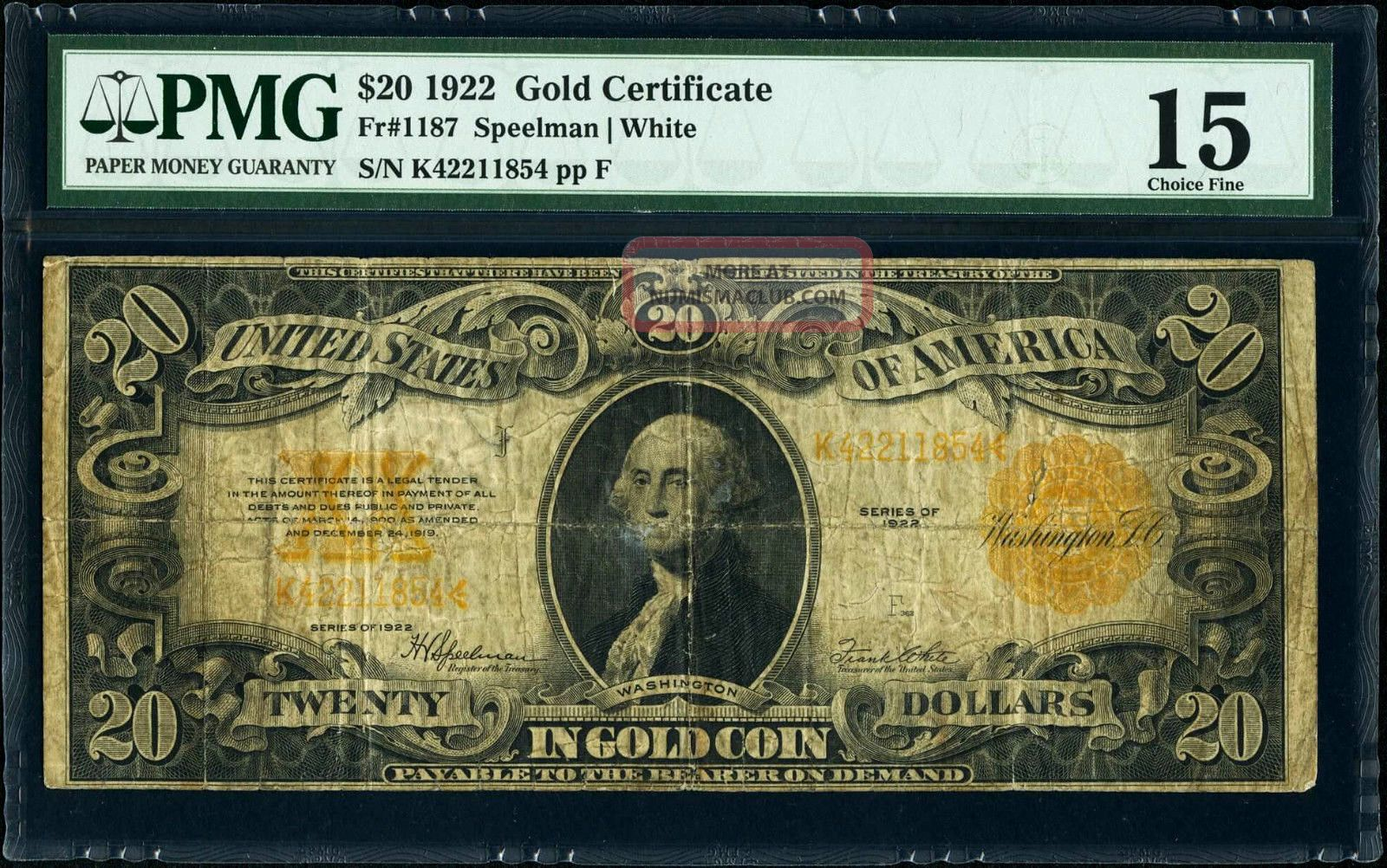 Fr.  1187 $20 1922 Gold Certificate Pmg Choice Fine 15 Plate F Speelman White Large Size Notes photo