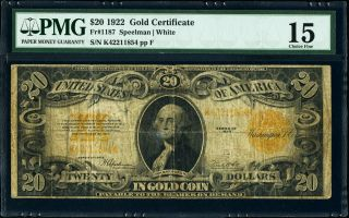 Fr.  1187 $20 1922 Gold Certificate Pmg Choice Fine 15 Plate F Speelman White photo