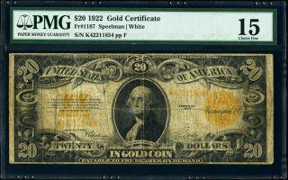 Fr.  1187 $20 1922 Gold Certificate Pmg Choice Fine 15 Plate F Speelman White photo