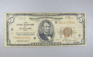 1929 $5 Us National Currency Federal Reserve Bank Cleveland Ohio Five Dollars photo