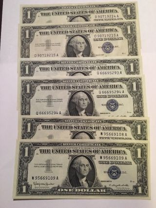 6 $1 Silver Certificate 2ea 1957 1957a 1957b Consecutive Unc Bold Ink photo