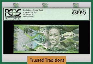 Tt Pk 74 2003 Barbados 5 Dollars Pcgs 68 Ppq Gem photo