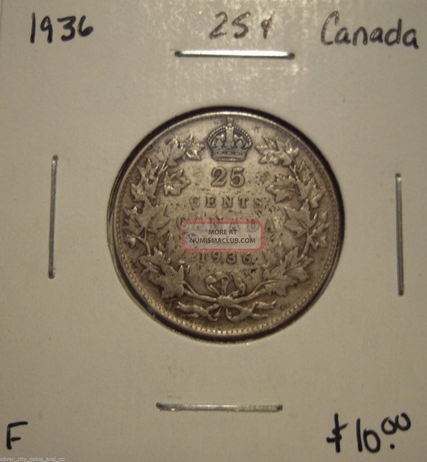 Canada George V 1936 Silver Twenty Five Cents - F Coins: Canada photo