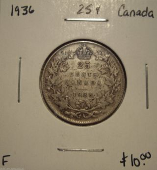 Canada George V 1936 Silver Twenty Five Cents - F photo