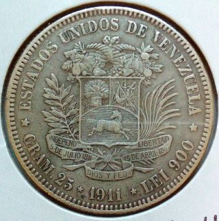 Venezuela Silver Coin Gram 25,  5 Bolivares,  1911 (narrow Date) photo
