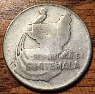 1943 Silver Guatemala 25 Centavos Quetzal Coin photo