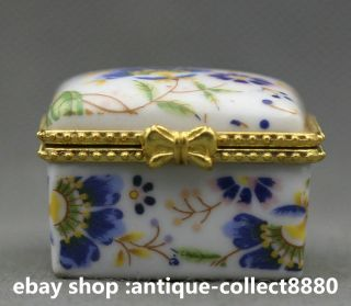 45mm Chinese Colors Porcelain Red And Blue Flower Decorative Border Jewelry Box photo