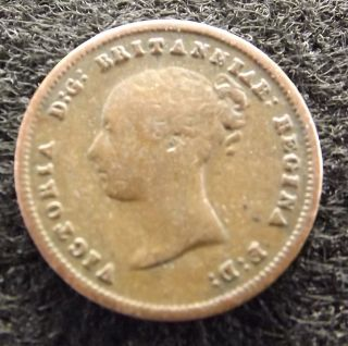 1843 Great Britain 1/2 Farthing - Vg/vg,  Copper Victorian Coin,  Km 738 (381) photo