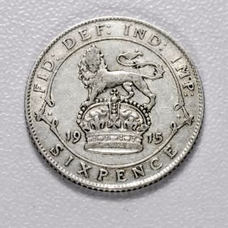 Gb George V Silver (. 925) Sixpence - 1915,  Sharp Grade,  [1915 - 6d] photo