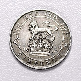 Gb George V Silver (. 925) Sixpence - 1914,  Sharp Grade,  [1914 - 6d] photo