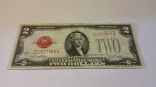 1928 G Red Seal Us $2 Two Dollar Bill Legal Tender Note Currency 68a photo