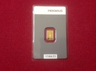 Heraeus 1 Gram Gold Bullion Feingold 999.  9 In Assay photo