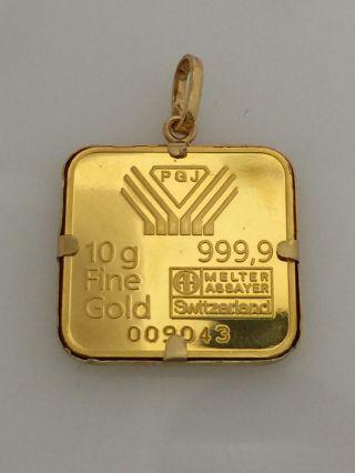 10 Gram Pgj Switzerland Fine Gold Bar 24k.  999 Diamond Hologram Kinebar Charm photo