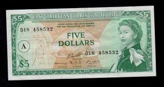 East Caribbean States 5 Dollars (1965) Antigua Pick 14i Vf - Xf. photo