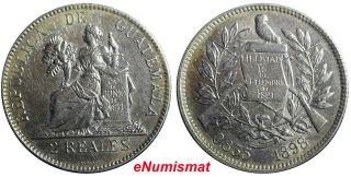 Guatemala Silver 1898 2 Reales,  Dos Km 167 photo