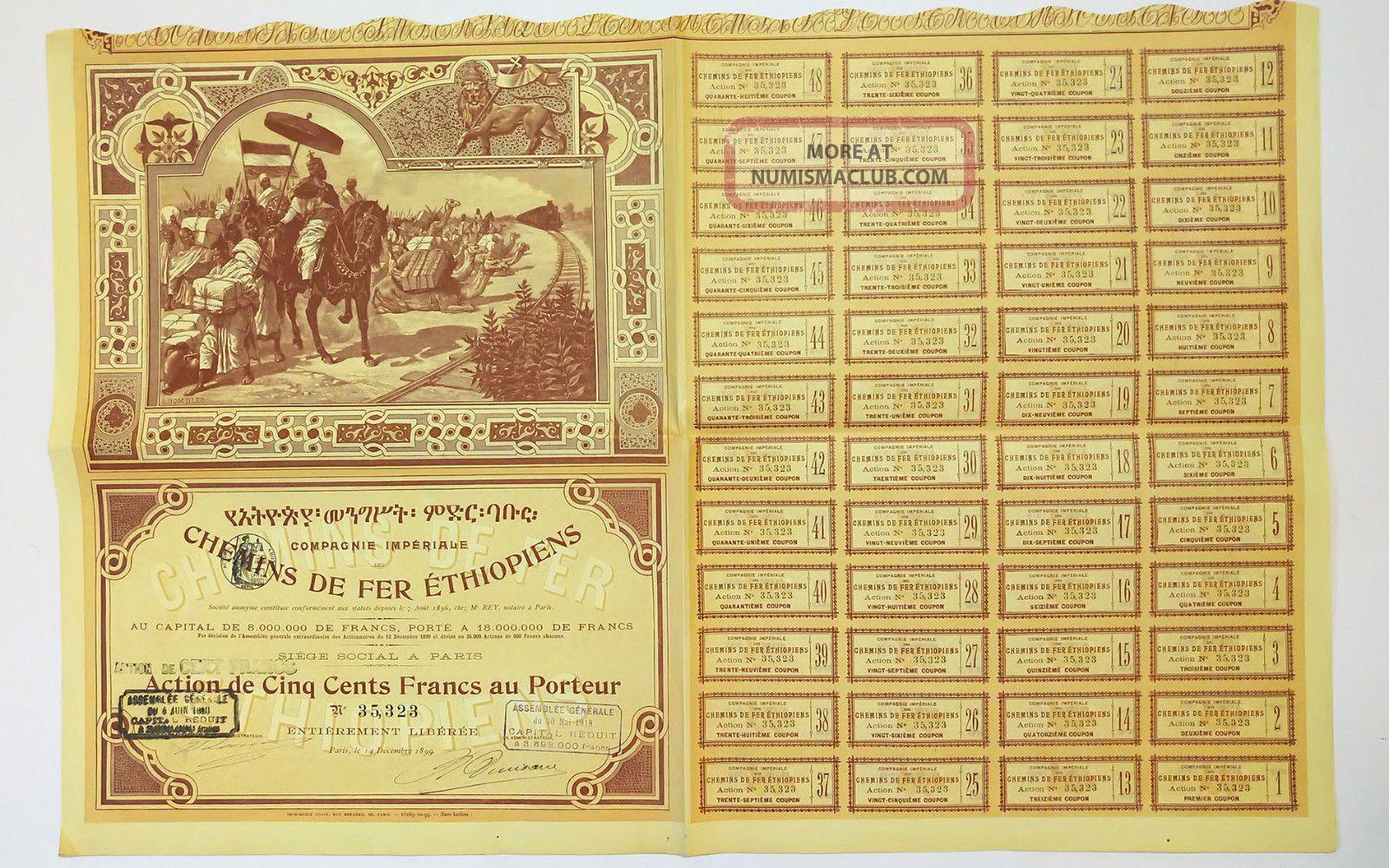 Africa - Cie Imperiale Des Chemins De Fer Ethiopiens 500f 1899 High Illustrated World photo