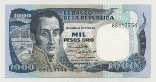 Colombia 1000 Pesos 1 - 1 - 1986 Pick 424.  C Unc Uncirculated Banknote photo