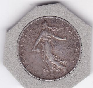 1919 Two Franc Silver (83.  5) Coin From France photo