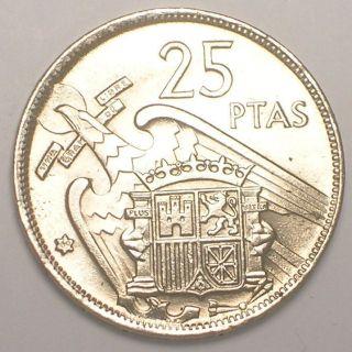 1957 (69) Spain Spanish 25 Pesetas Franco Eagle Coin Au photo