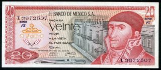 Mexico 20 Pesos 18/7/1973 P - 64b Unc Serie At Uncirculated Banknote photo