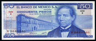 Mexico 50 Pesos 18/7/1973 P - 65a Unc Serie Z Uncirculated Banknote photo