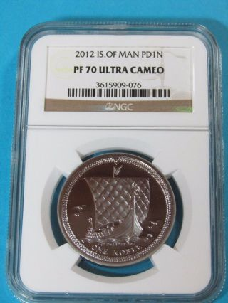 2012 Isle Of Man 1 Oz.  Palladium Noble - Rare - Ngc Pf 70 Ultra Cameo photo