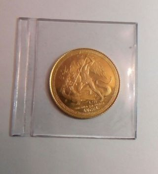 1988 Gold Isle Of Man 1/20th Ozt Angel Coin In Plastic. photo