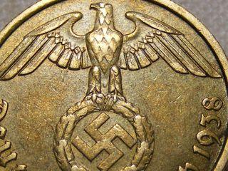 1938 Rare Old Wwii Nazi Hitler Germany 3rd Reich Brass Reichspfennig War Coin photo