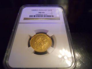 1888 Kb Hungary Gold 20 Francs Ngc Au 55 photo