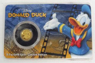 Disney Donald Duck Niue $2.  5 Gram.  9999 Fine Gold Coin Limited Edition 1,  500 photo
