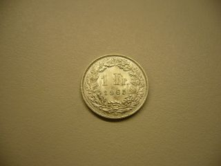 1965 Swiss 1 Franc Silver Coin photo