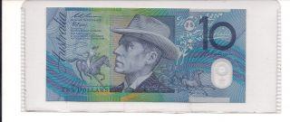 Australian 1994 10 Dollars Note Polymer Frazer/ Evans Australia Ten Dollars Note photo