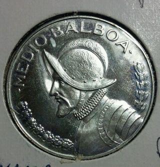 1971 Republic Of Panama 1/2 Balboa 900 Fine Silver Coin. photo