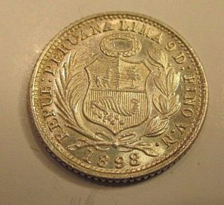 Very Scarce Unc.  Peruvian 1/2 Dinero 1898 F N Silver Coin 1.  25 Grams 900 Silver photo