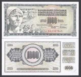 1978 Yugoslavia 1000 Dinara Unc Yugoslavia Banknote (p - 92) photo