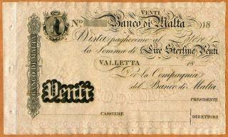 Malta,  Banco Di Malta,  20 Lire,  18xx (ca 1886),  P - S163,  Unc Rare,  Remainder photo