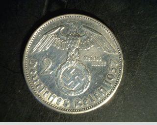 Germany 2 Mark 1937 F Silver Coin Third Reich Swastika Reichmark Nazi 3rd Ww2 photo
