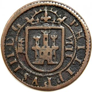 Philip Iii 1605 Spain Lion & Castle 8 Maravedis Sku Lg17 photo