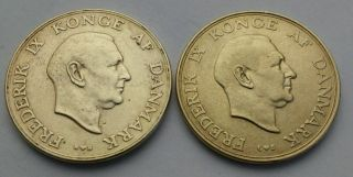 Denmark 1 Krone 1948 (h) N,  S & 1957 (h) C,  S.  Frederick Ix.  One Dollar Coin.  Al - Bz photo