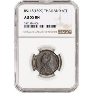 Rs118 (1899) Thailand Att - Ngc Au55 Bn photo