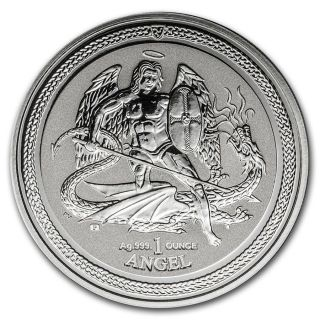 Isle Of Man 2016 1 Ounce Angel Reverse B.  U.  Silver Coin photo